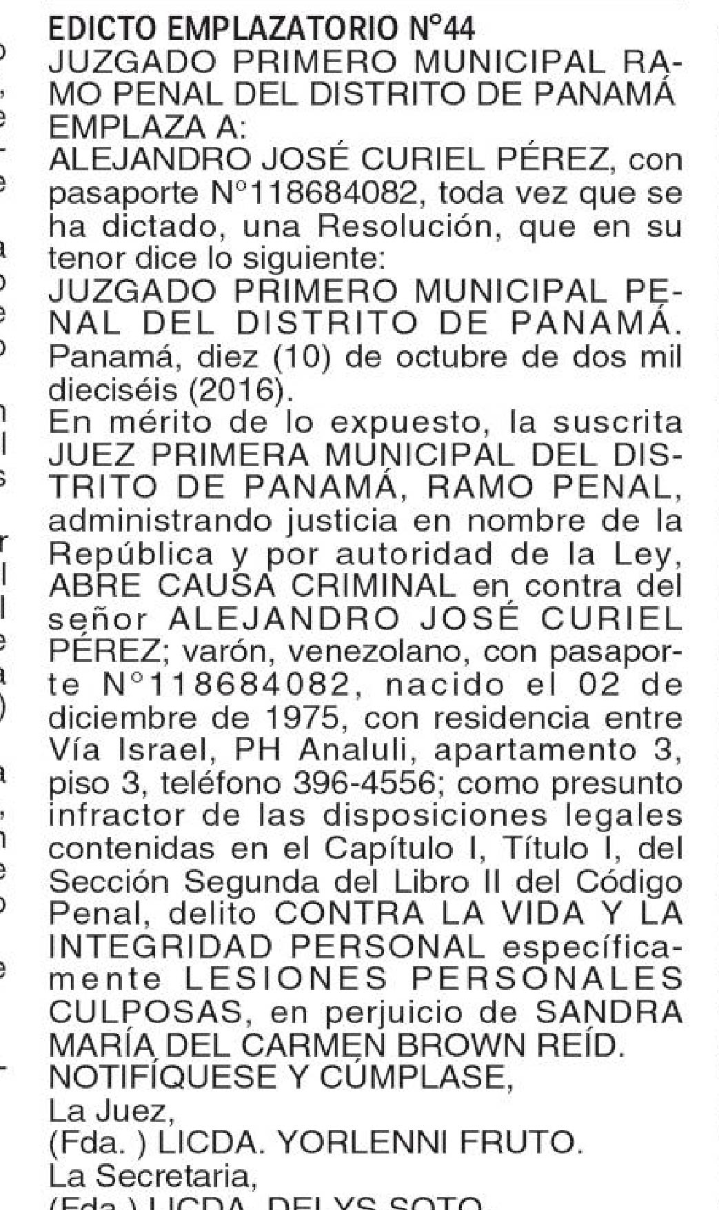 publicar edicto panama